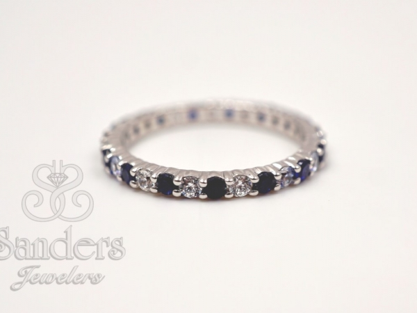 Bridal Jewelry - Sapphire and Diamond Eternity Band